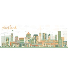 Abstract auckland skyline with color buildings vector