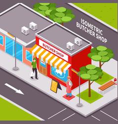 butcher shop outside isometric design vector image