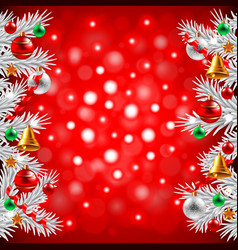 Christmas tree branches on red background vector image vector image