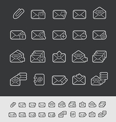 E-mail Icons Black Background vector image vector image