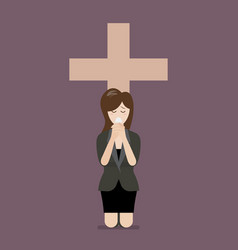 sadness woman is on her knees and prays to god vector image