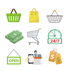 shopping icon set flat style shop icons vector image