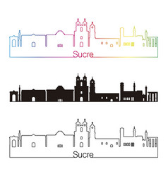 sucre skyline linear style with rainbow vector image vector image