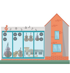 architecture facade of a music house vector image vector image