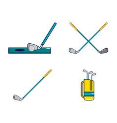 golf stick icon set cartoon style vector image