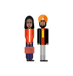 indian staff couple in national clothes vector image