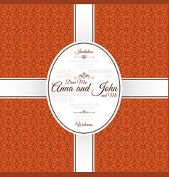 invitation card with orange arabic pattern vector image vector image