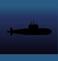 military submarine diving in dark ocean vector image