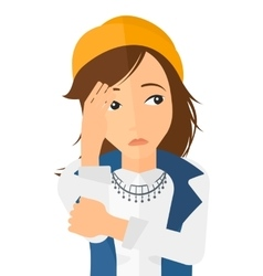 Ashamed young woman vector image vector image