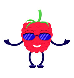 cartoon raspberry sunglasses pens and legs vector image