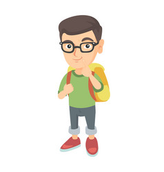 caucasian little boy with school bag thinking vector image vector image