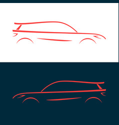 design car fast racing automobile red silhouette vector image vector image
