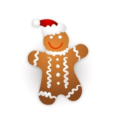Gingerbread man on a white background vector image