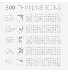 Icons line set hexagon thin vector