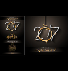 2017 happy new year restaurant menu template for vector image