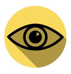 eye sign flat black icon vector image vector image