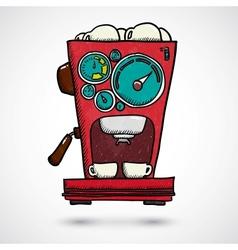 Hand drawn coffee machine vector image vector image