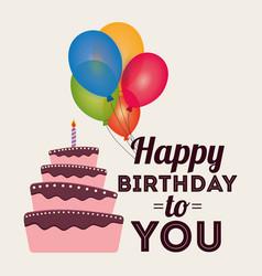 happy birthday card invitation greeting cake vector image