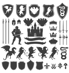 Heraldry Decorative Graphic Icons Set vector image