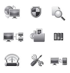network icon set grey vector image