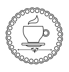 silhouette elegant border with coffee cup vector image