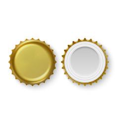 3d realistic metal golden blank beer bottle vector