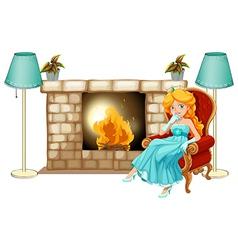 A princess near the fireplace vector