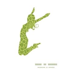 Abstract green natural texture jumping girl vector