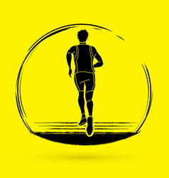 Athlete runner running back view graphic vector