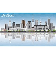 Auckland Skyline with Gray Buildings vector