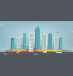 autumn city urban landscape buildings and vector image
