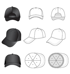Baseball tennis cap set featured front back side vector