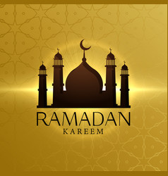 beautiful ramadan kareem background with mosque vector image