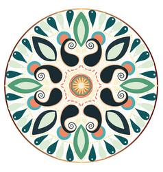 Beautiful round rangoli in gold circle vector
