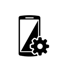 Black setting on smartphone screen icon on white vector