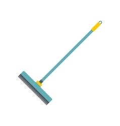 Blue plastic broom flat vector
