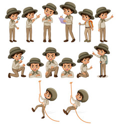 Boy in safari outfit doing different things vector