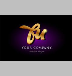 bu b u 3d gold golden alphabet letter metal logo vector image