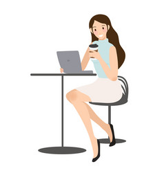business woman checking her mobile phone with vector image