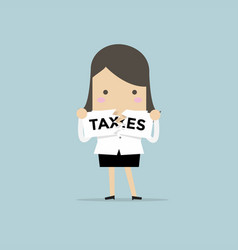 businesswoman teared taxes paper vector image