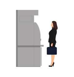 businesswoman with briefcase stands near atm vector image