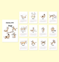 calendar dogs sketches vector image