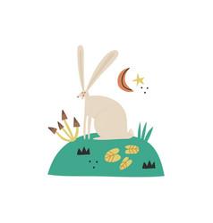 cartoon hare character hand vector image