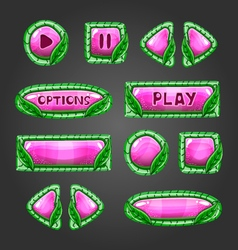 Cartoon pink buttons with leaves Game interface vector image