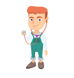 Caucasian boy in doctor coat holding a stethoscope vector