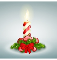 Christmas Candle With Fir Branches vector image