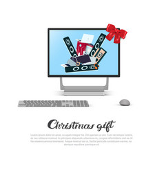 christmas gift template banner computer monitor vector image