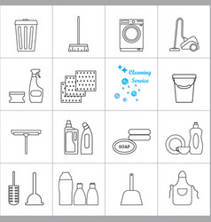 Cleaning icons set hygiene tools signs vector
