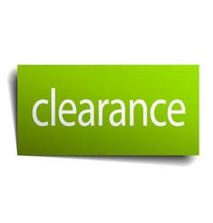 Clearance green paper sign on white background vector