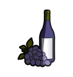 Color silhouette with bottle of wine and bunch of vector
